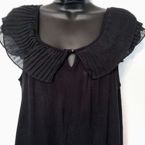 French Laundry ruffled neck and sleeve  top